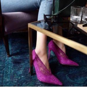 Zara High Heels Plum Lace Size 6.5 EU 37 New